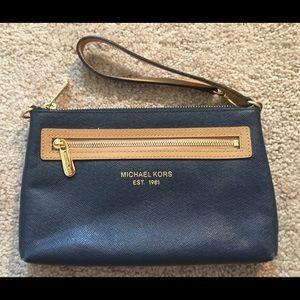 Michael Kors Navy & Tan Wristlet / Handbag